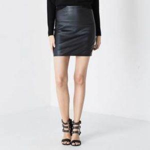 DSTLD | Black 100% Leather Skirt | Size XS